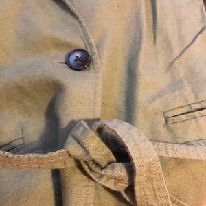 Gap army green tie waist linen blend blazer